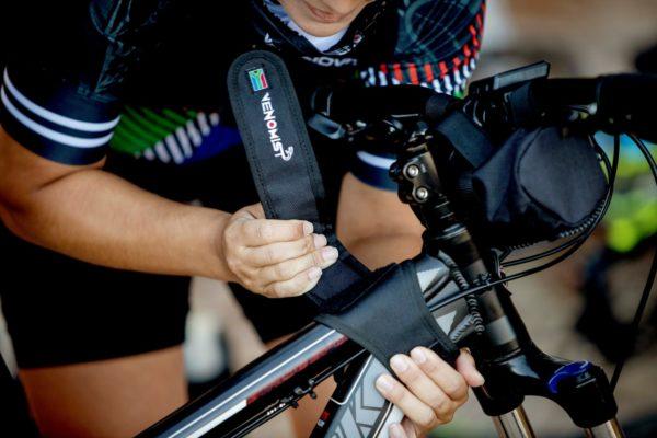 Viper strap on bike with pepper spray